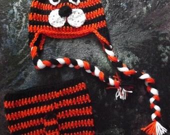 crochet newborn set - tiger