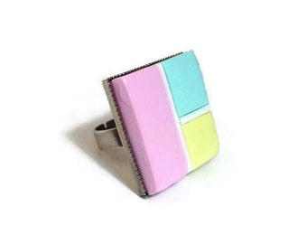 Colorful Resin Statement Ring, Modern Pop Fashion Ring, Modern Art Polymer Clay Ring, New Fashion Statement Ring, Geometric Square Ring