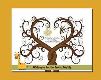 Safari Nursery Decor, Fingerprint Tree, Baby Shower Guest Book, Baby  Guestbook Wall Print