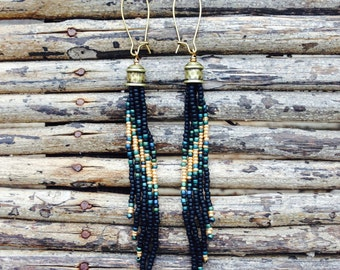 Tassel Seed Bead Earrings, Jet Black and Gold Earrings, Long Fringe Earrings, Long Earrings, Seed Bead Earrings,  Tribal Jewelry