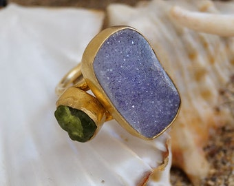 Beautiful Druzy Quartz Ring W / Green Peridot Ring By Ferimer 18k Gold Plated Over Sterling Silver