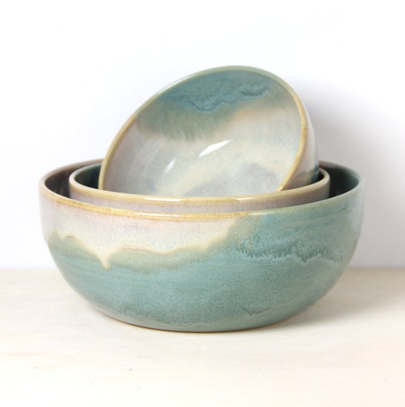 Ceramic Nesting Bowl Set Three Blue Green Melting Pearl