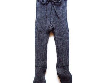 Baby merino wool pants with feet/footed leggings/trousers with feet/tights/high waist/rib knit