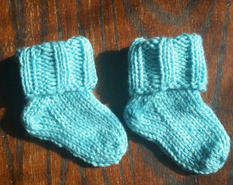 Baby socks/booties (Aruba sea), handcrafted knit socks, 3-9 months, custom colors available