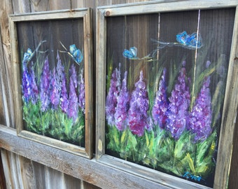 Wild flower set of two,purple flower, reclyced wood