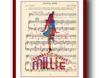 Thoroughly Modern Millie Poster 2 Watercolor Poster  School Musical Poster  Wall Art Print 8x10 Wall Decor  Book Page Upcycled Dictionary