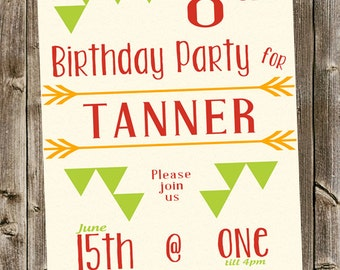 Birthday Invitation- Tribal  with triangles