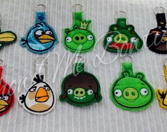 Birds, Pigs and Bomb set Key Fob/ Zipper Pull design Instant Download