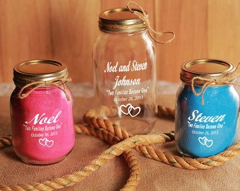 NokNoks Engraved Redneck Unity Sand Ceremony 3 piece set- Personalized - Mason Jars