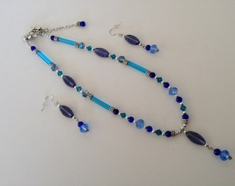 Multi-Blue Glass Necklace Set
