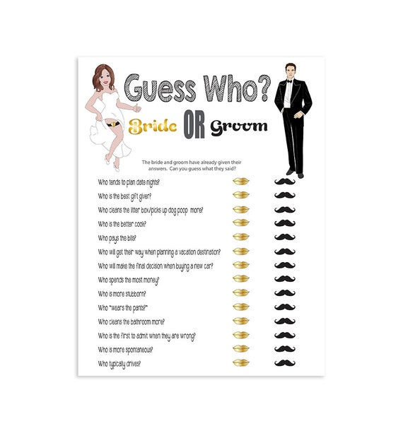 Printable Bridal Shower Game Guess Who Couples