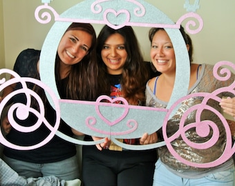 Princess Photo Booth Frame MDF and Glitter Foamy Princess Carriage.