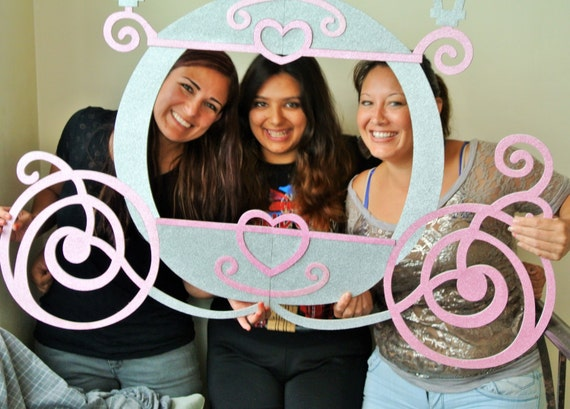 Princess Photo Booth Frame MDF and Glitter Foamy Princess Carriage ...