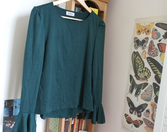 Forest Green Tunic Top with Flared Sleeves