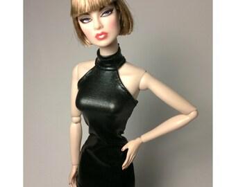 Dolls dress for FR,Silkstone, all barbie doll - Halter Neck-Black No.744