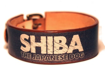 Japanese 1.2inch width leather small/medium dog collar Shiba The Japanese dog 33034