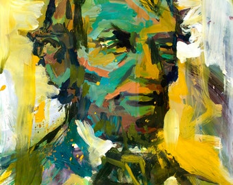 Original Abstract Abraham Lincoln Painting, Abstract Artwork