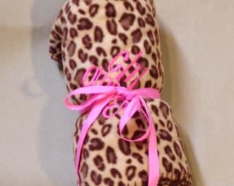 Chi Omega Leopard Fleece Blanket