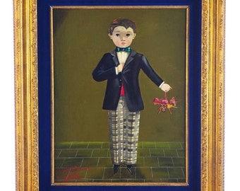 Agapitos Labios-Boy w/Tuxido-Gorgeous Mexican Folk Art Oil Painting-NICE!!