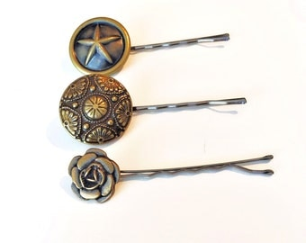Bronze Star Button Bobby Pins-Set of 3