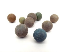 Vintage Clay Marbles, 1900s Games, Nine Small Round Clay Marbles, Old Traditional Games, Edwardian Games, Small Spheres, Clay Colour Marbles