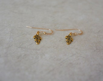 Simple Leaf Earrings Leaf Dangle Earrings Leaf Jewelry