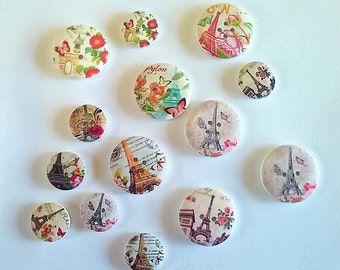 Paris inspired wooden buttons 14 in this selection 7 x 30mm 7 x 20mm