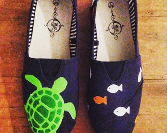 Hand Painted Sea-Themed Canvas Shoes