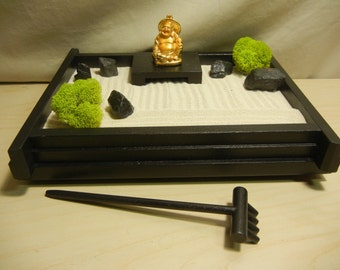 zen garden furniture. S03GB Small Desk Or Table Top Zen Garden With Golden Buddha DIY Kit Furniture