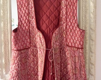 Indian Dress Cotton Long Quilted Vest India 70s Vintage Phool Pink