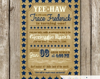 Vintage Cowboy Birthday Invitation - Rustic Cowboy Themed First Birthday - Stars 1st Birthday Invite - Vintage Western 1st Birthday Invite