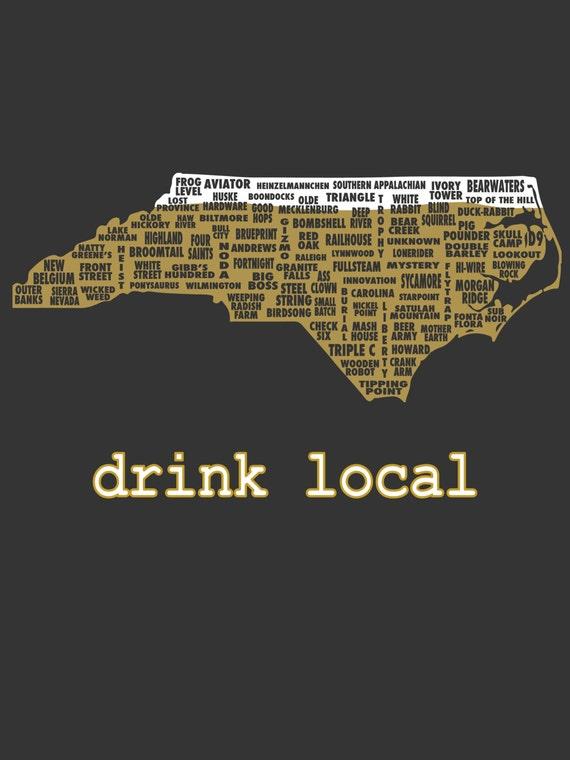 Drink local north carolina beer t shirt for Local t shirt print shops