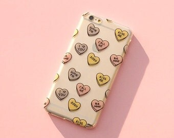 Clear Plastic Case Cover For Iphone 5 5s - Candy Hearts
