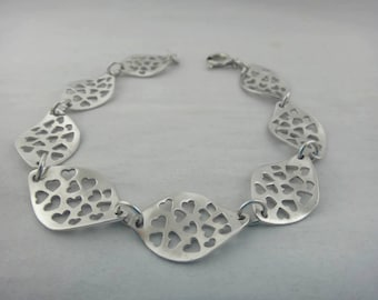 Bracelet with hearts handmade, 925 silver woman