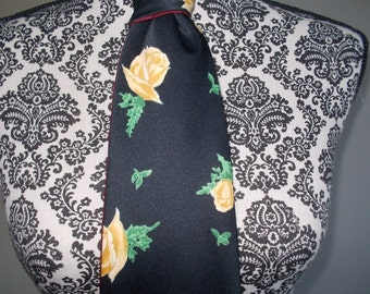 National Shirt Shop Tie 1970s Black with Yellow Roses  Office Tie Vintage