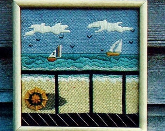 Little Seascape Needlepoint Picture Vintage Needlepoint Pattern Download