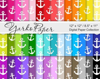 Nautical Digital Paper Pack, Anchors Scrapbook Paper, Background, 42 Sheets, Rainbow Paper, Personal, Commercial Use- Instant Download