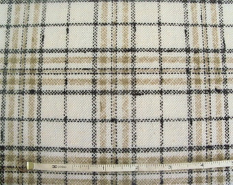 Vintage 70s Tan, Black and White Plaid Knit Fabric