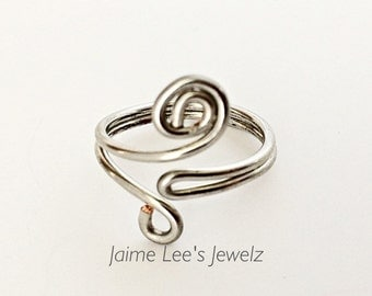 Women's Silver Ring, Swirl Ring, Funky Ring, Wire Design