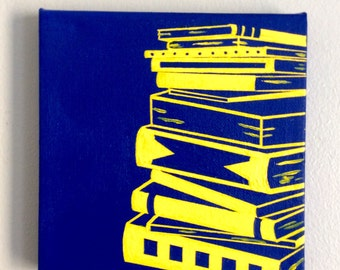 stacks of books, blue and yellow, hand-painted