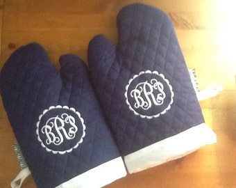 Set of Quilted Embroidered Monogram  Oven Mitts