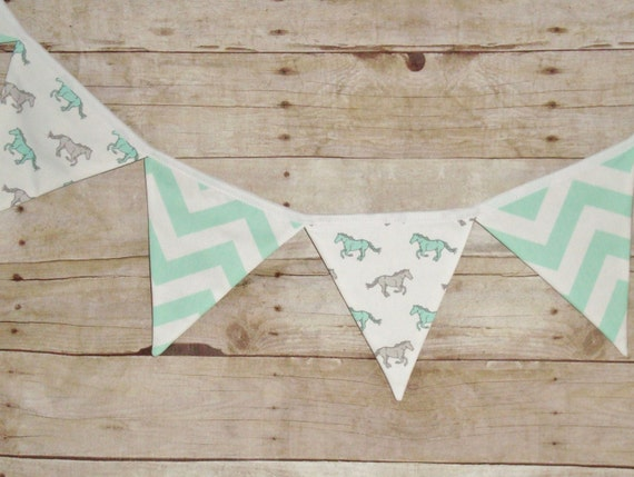 horse bunting -  horse flag banner - Equine party decor - pony banner - mint chevron bunting - gift for horse lover - pony party decor