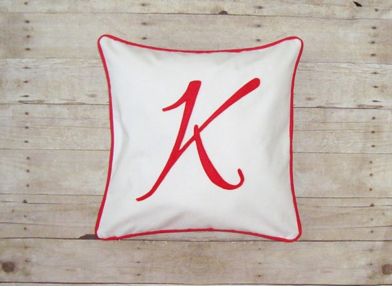 Initial Pillow - Cover / Custom monogram pillow case - Script Pillow - Initial cushion - red letter - pillow with letter- personalized gift