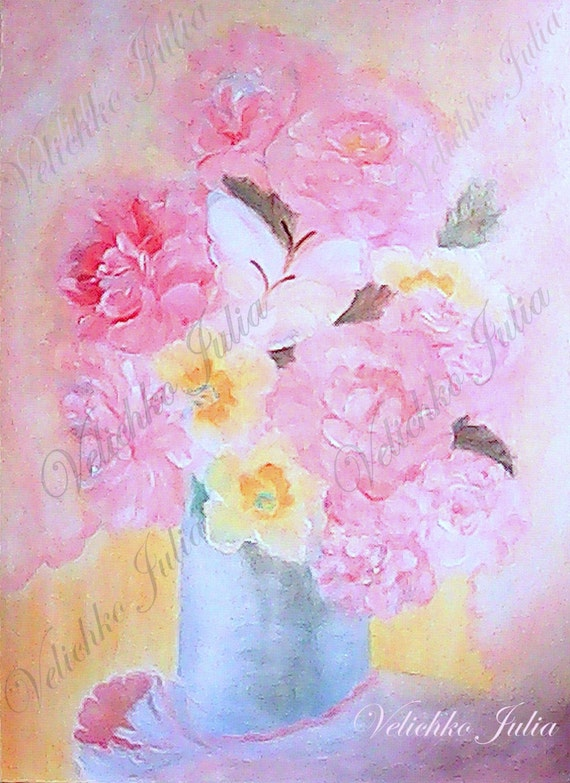 oil painting pink flower - photo #30