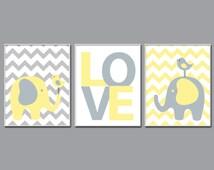 Nursery Yellow and Grey Elephant and Bird Art Print, Baby Boy or Girl Chevron Wall Art, Boys or Girls Bedroom Decor-A134,A135& A136-Unframed