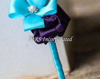 Boutounierre, malibu blue, purple, blue wedding, wedding gift, bouquets