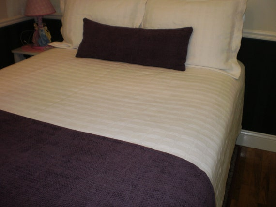 Solid Color Eggplant Purple Chenille Quilted Hotel Style Bed