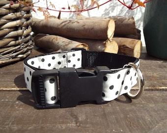 White polka dot Dog Collar