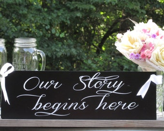 """Our Story Begins Here"""" © / Ring Bearer Flower Girl Sign / Painted Solid Wood / Wedding Sign"""