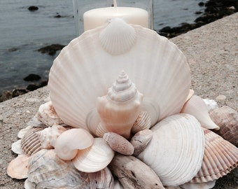 Beach Decor - Nautical Centerpiece - Shell Wreath With Candle (LSC003)